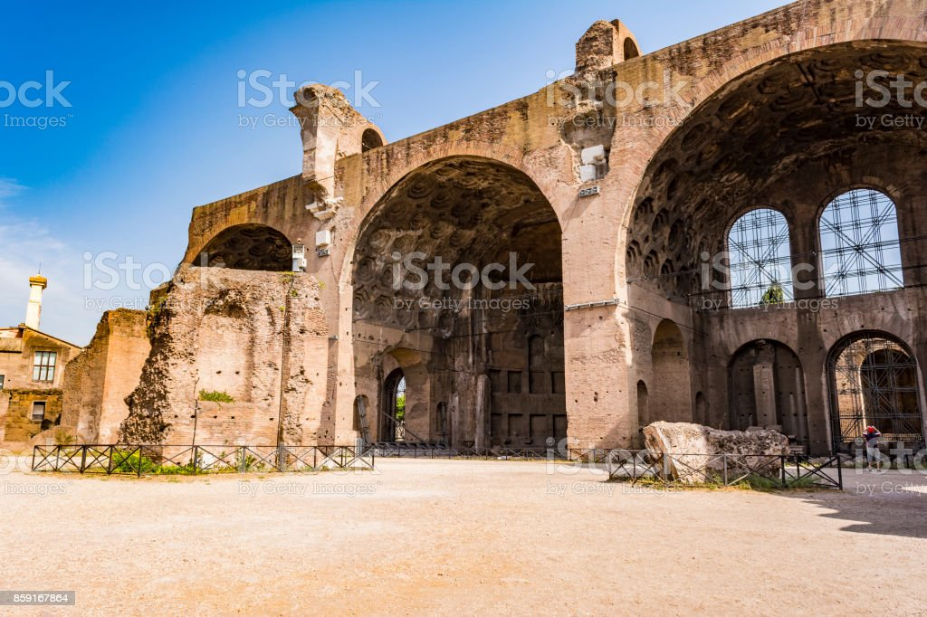 The Basilica of Constantine and Maxentius in the Roman Forum stock photo