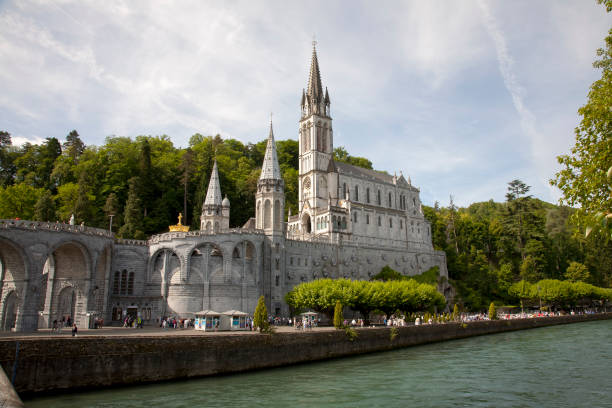 The Basilica of Lourdes at Gave de Pau river