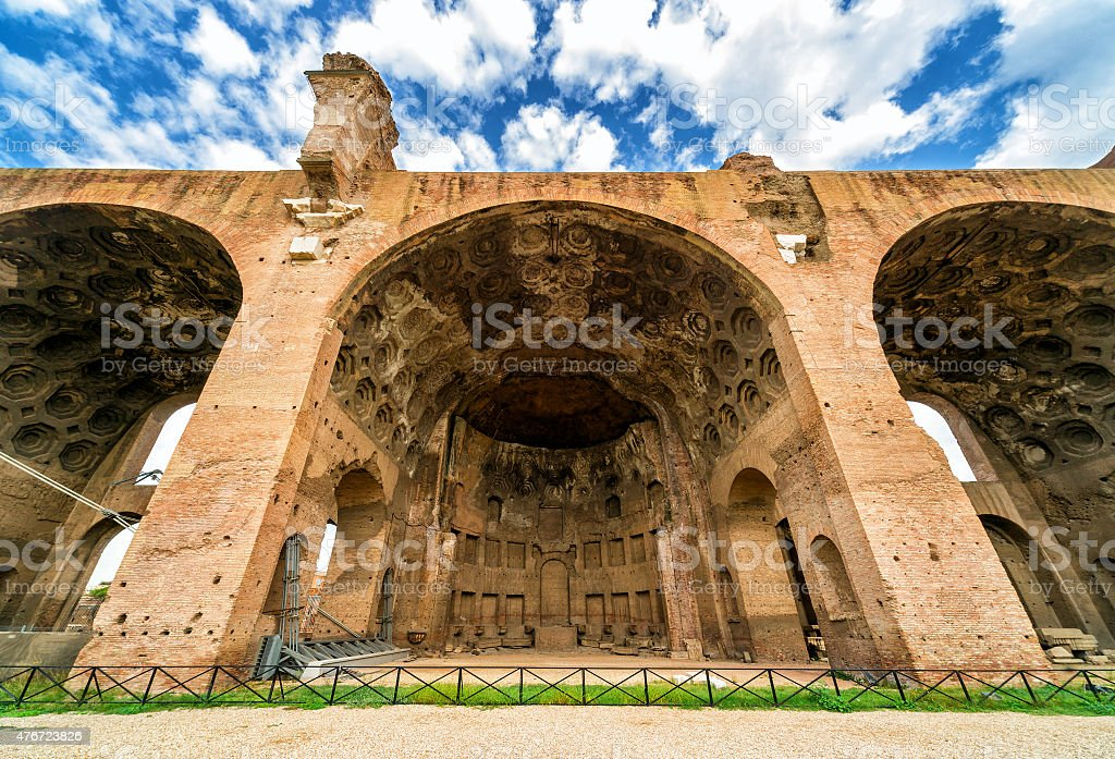 The Basilica of Maxentius and Constantine in Rome stock photo