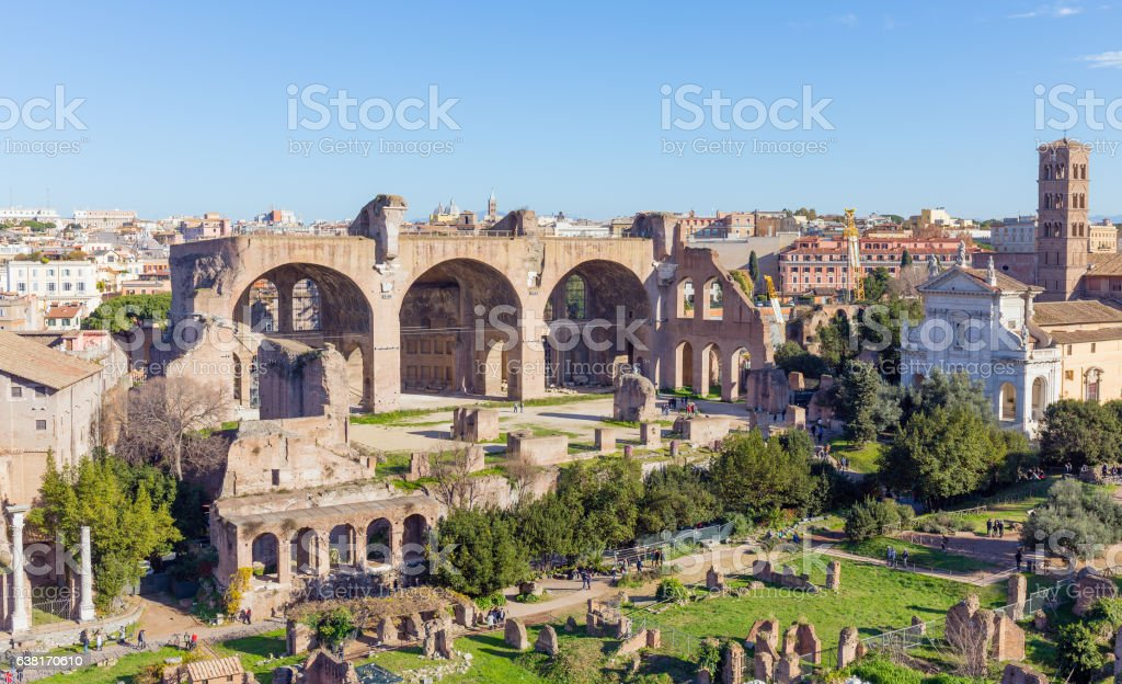The Basilica of Maxentius and Constantine, Rome, Italy stock photo