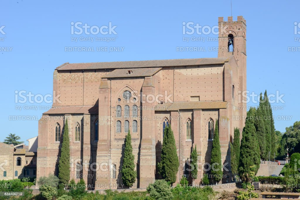 The Basilica of San Domenico from Siena stock photo