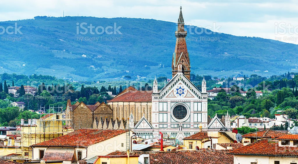 The Basilica of Santa Croce in Florence stock photo