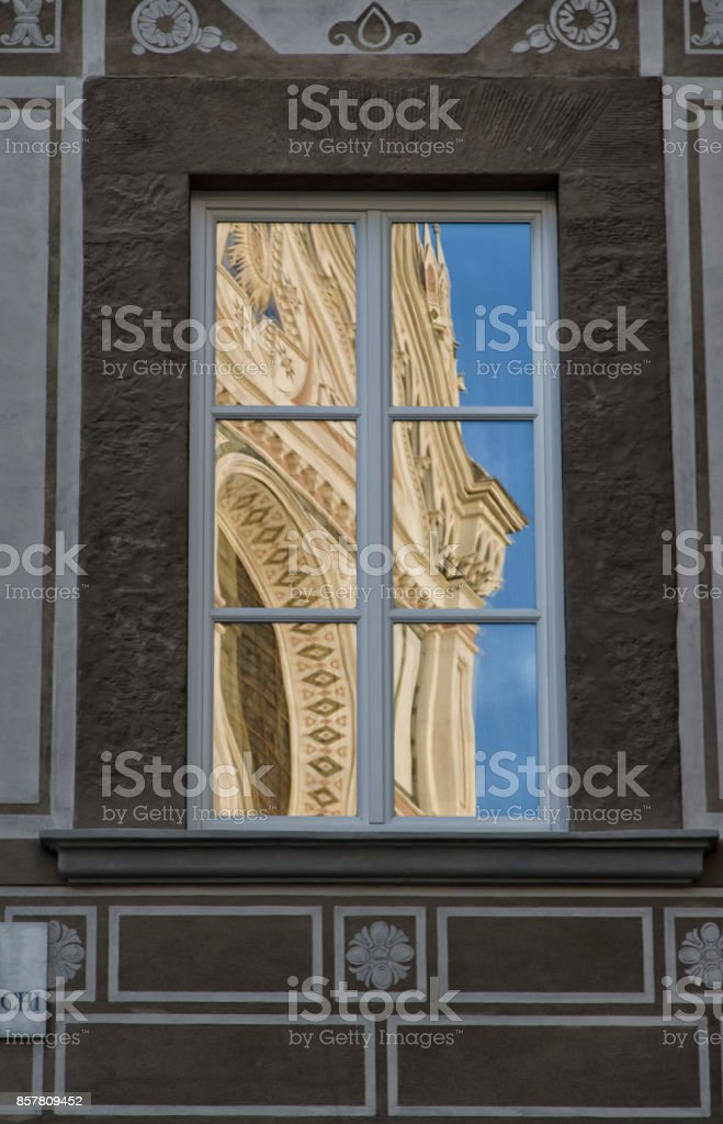The basilica of Santa Croce reflected stock photo