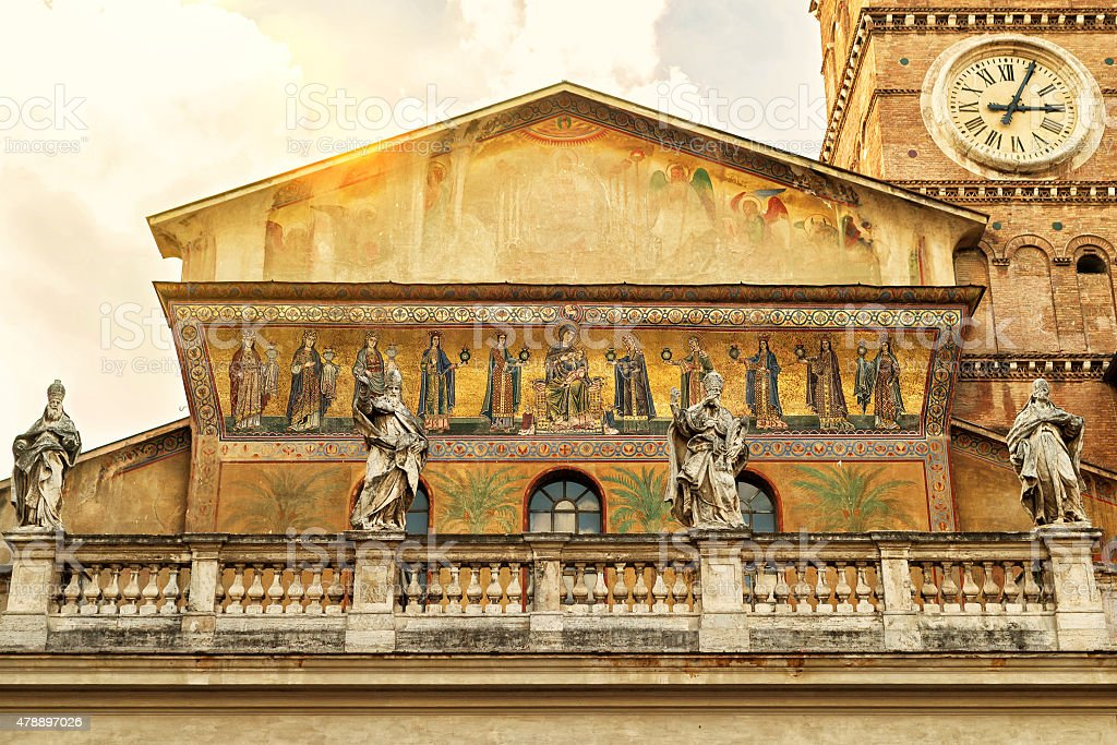 The Basilica of Santa Maria in Trastevere in Rome stock photo