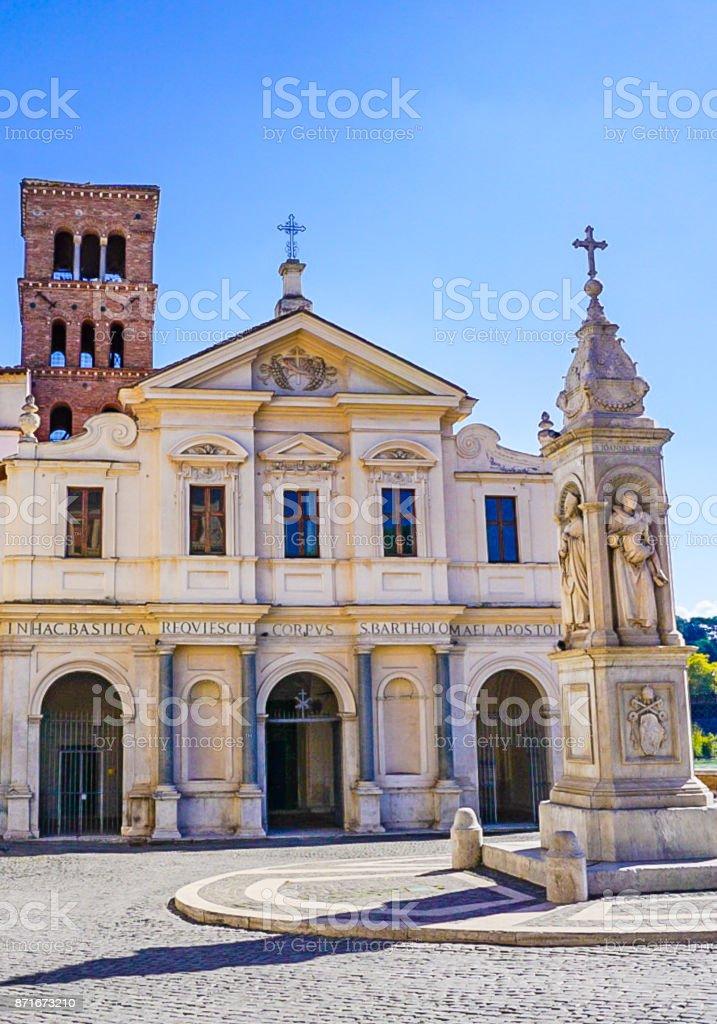 The Basilica of St Bartholomew on Tiber Island in Rome, Italy stock photo