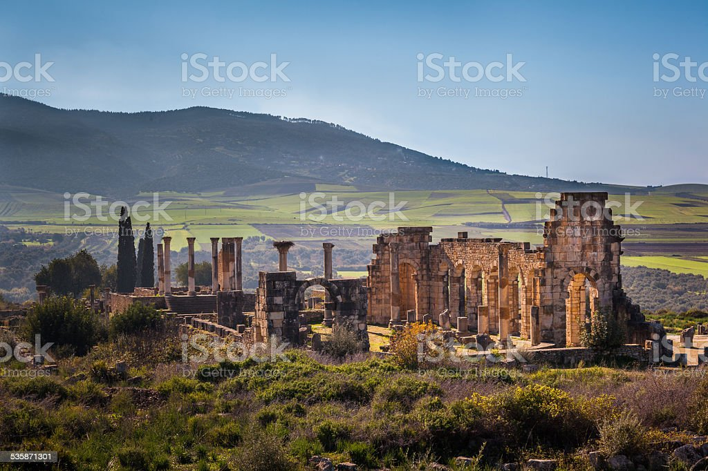 The Basilica of Volubilis stock photo
