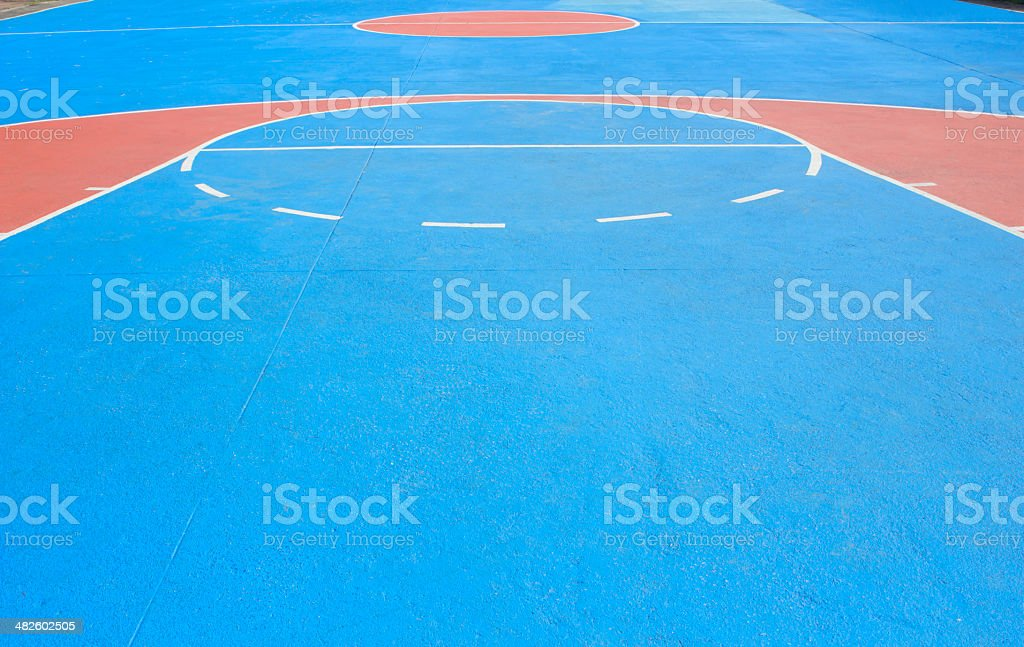 The basketball court with white lines. stock photo