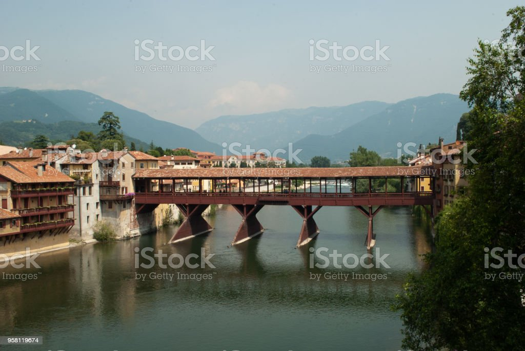 The Bassano del Grappa bridge, a monument to the partisan resistance of the Second World War - foto stock