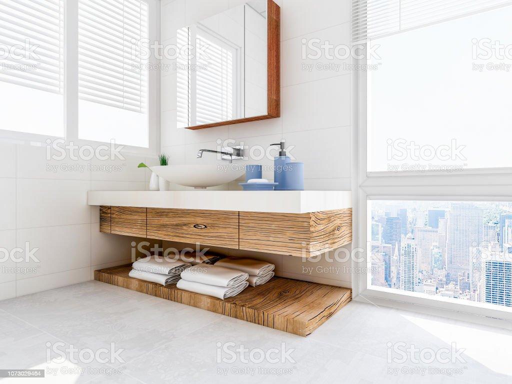 Das Bad Im Bad Der Weisse Schrank Mit Weissen Saubere Handtucher