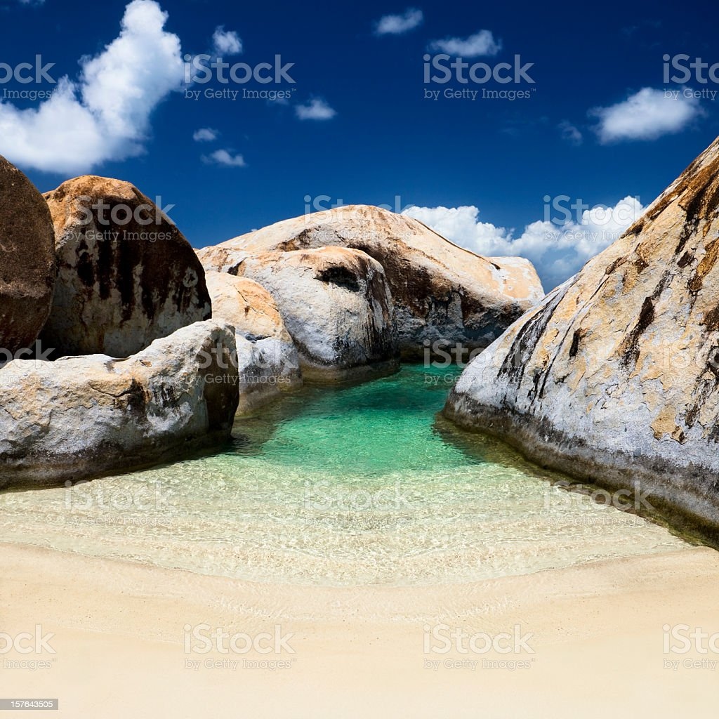 The Baths - beach in Virgin Gorda, BVI stock photo