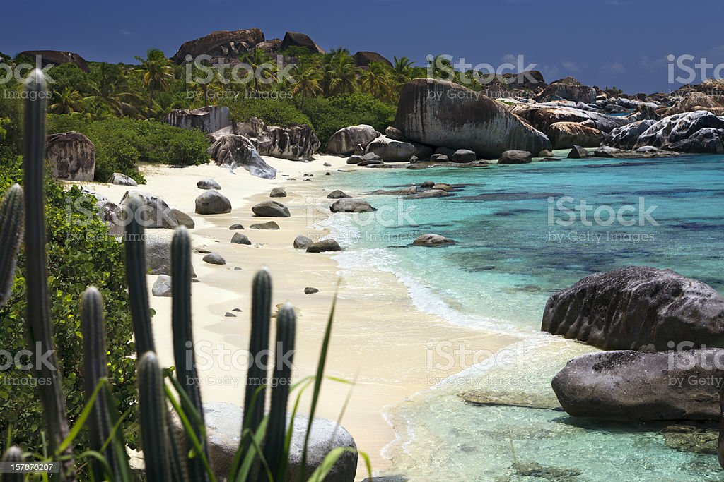 The Baths - beautiful untouched beach in Virgin Gorda, BVI stock photo