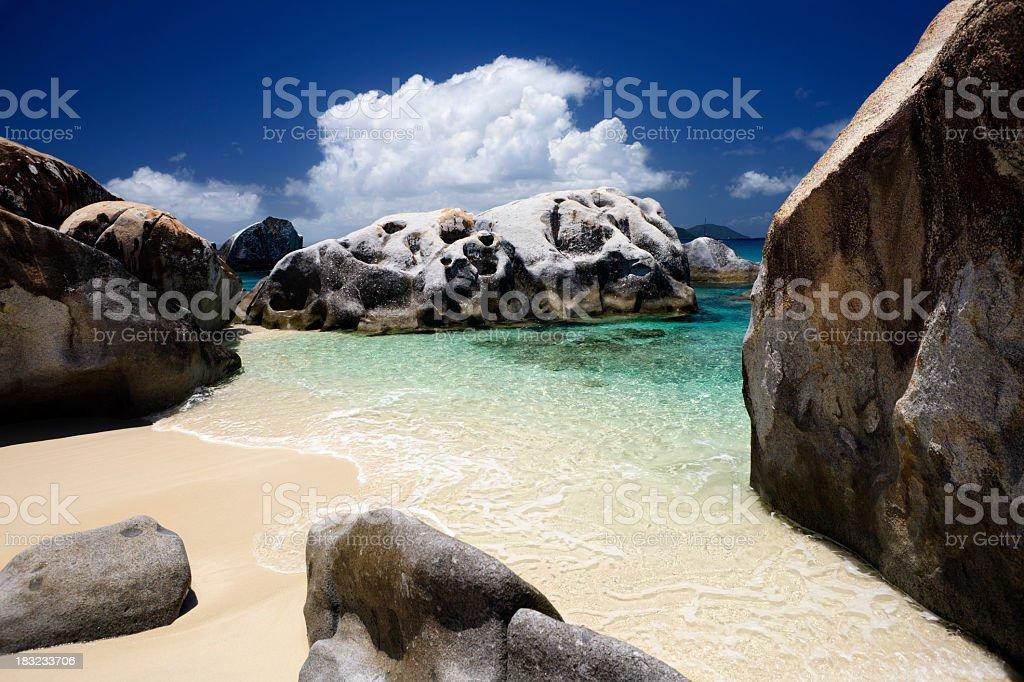 The Baths - boulders at Virgin Gorda beach, BVI stock photo
