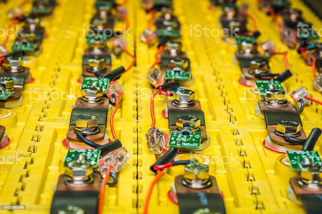 The batteries in electric car stock photo