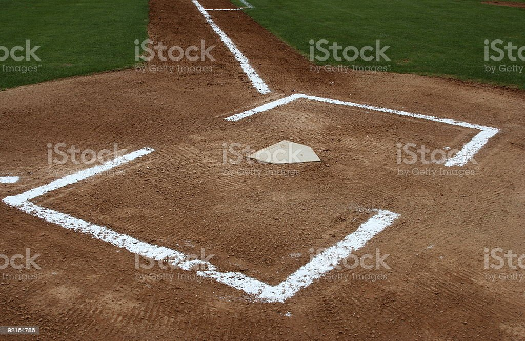 The Batters Box of a Baseball Field stock photo