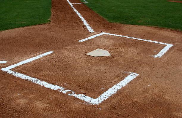The Batters Box of a Baseball Field stock photo