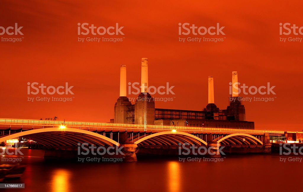 The Battersea power station at night, London stock photo