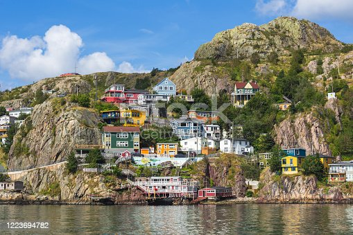 'The Battery' a neighbourhood in St. John's, Newfoundland, Canada, seen from across St. John's Harbour in the summer.