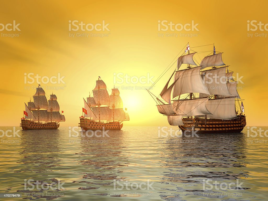 The Battle of Trafalgar stock photo