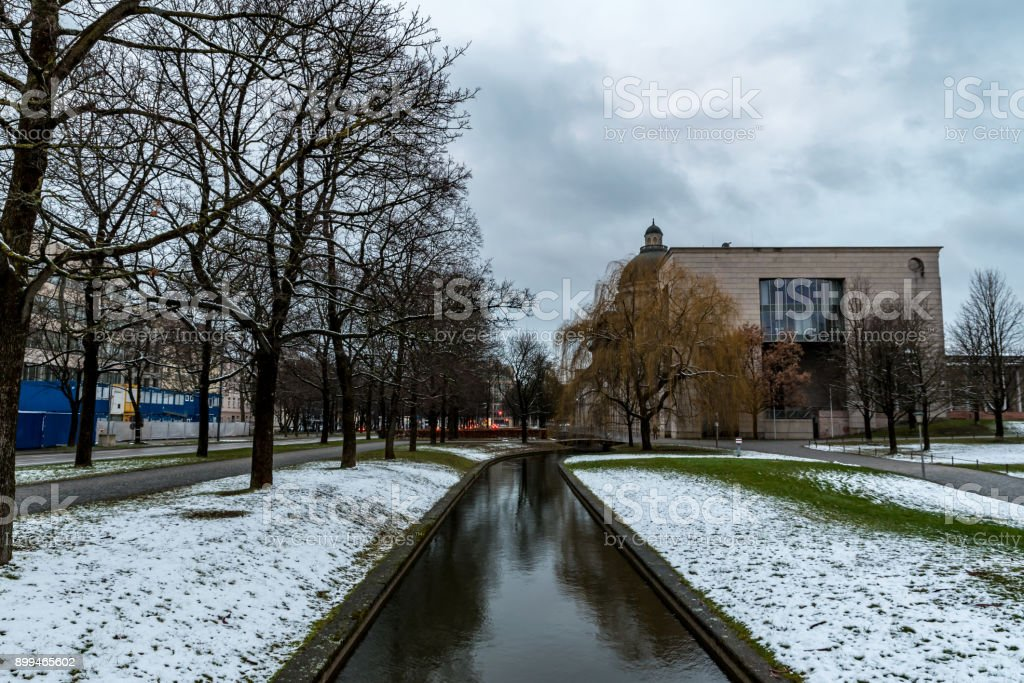 The Bavarian Parliament in Munich in winter stock photo