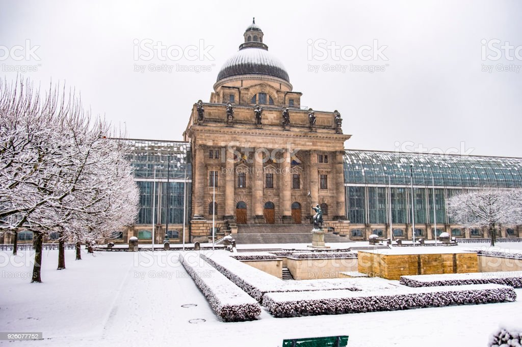 The Bavarian State Chancellery covered under the snow stock photo