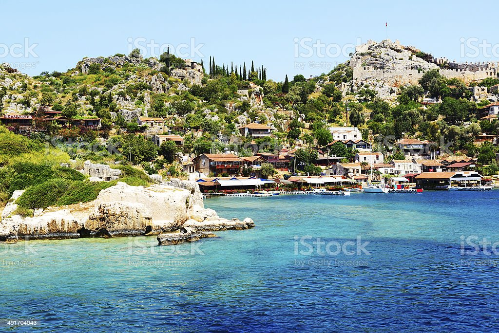 The bay and castle in Kekova, Turkey stok fotoğrafı
