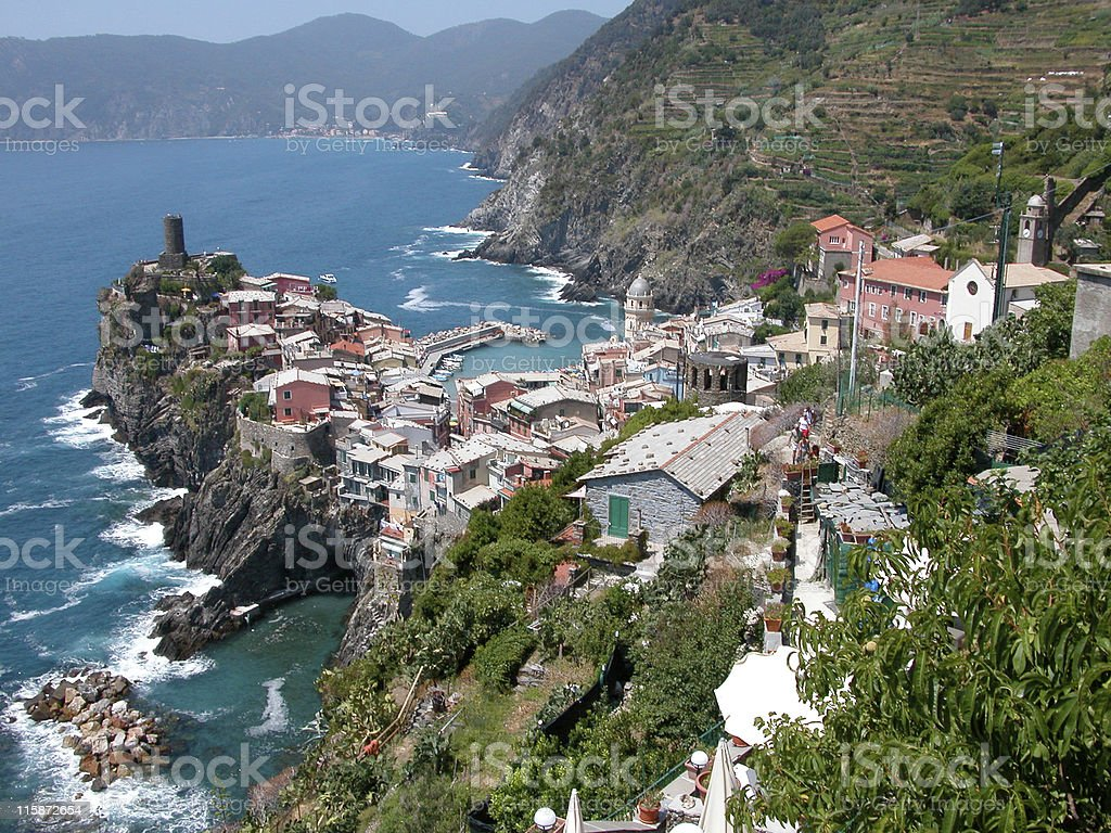 The bay and rocky cliffs of Cinque Terre in Vernazza, Italy royalty-free stock photo