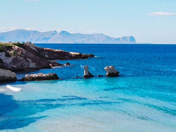 The bay in Terrazini, Sicily, Italy. Bright blue sea and rocks, mountains on the horizon. Attractive landscape. Digital watercolour picture stylization stock photo