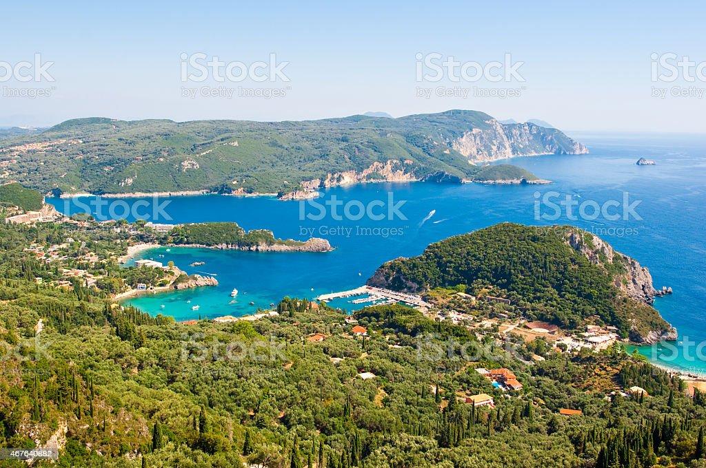 The bay of Palaiokastritsa with famous beaches. Corfu, Greece. stock photo