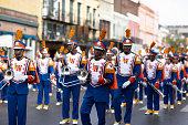 New Orleans, Louisiana USA - November 24, 2018: The Bayou Classic Parade, Landry-Walker High School Charging Buccaneers performing at the parade