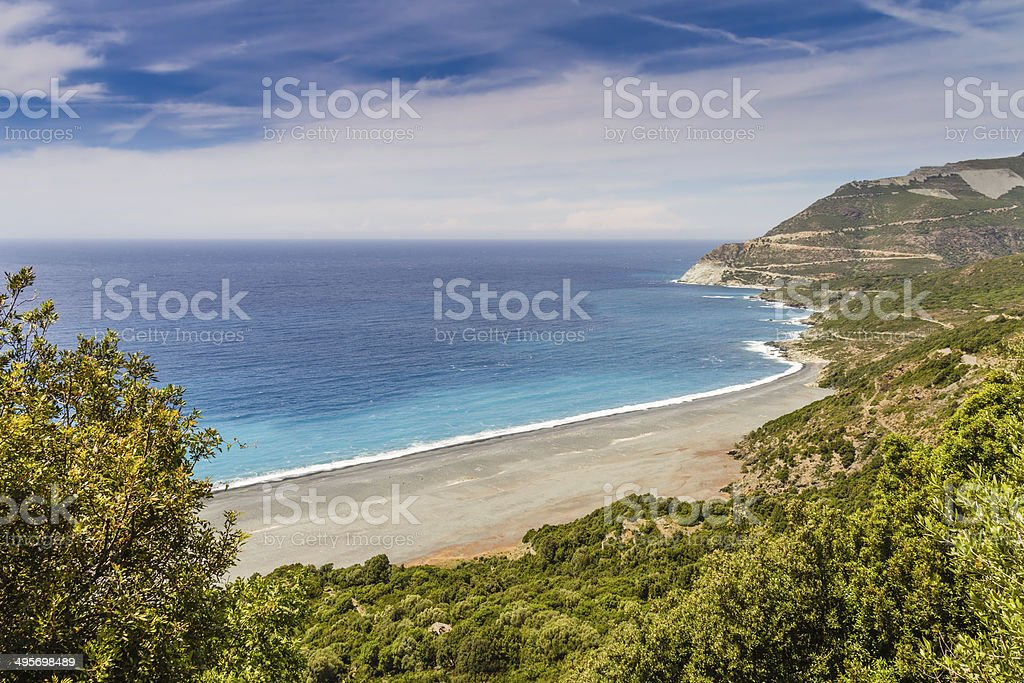 The beach and abandoned asbestos mine near Nonza in Corsica stock photo