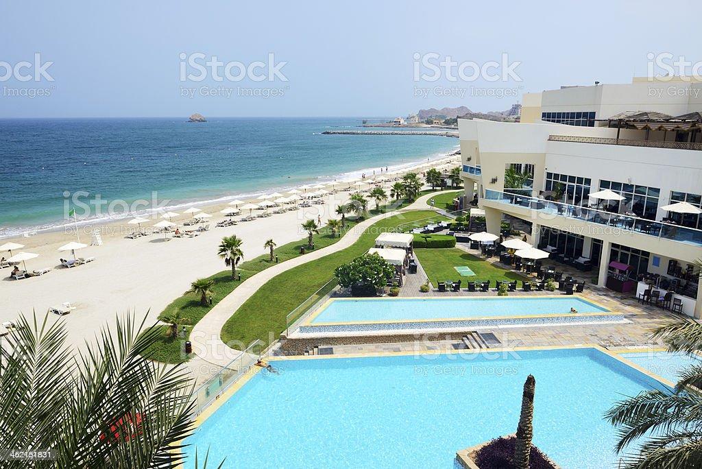 Den Strand Und Die Swimmingpools In Luxus Hotel Fujairah Vae