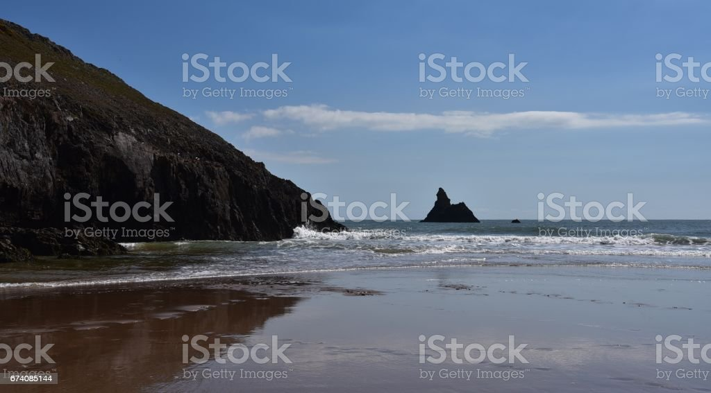 The Beach at Broadhaven, South Pembrokeshire, Wales, UK royalty-free stock photo