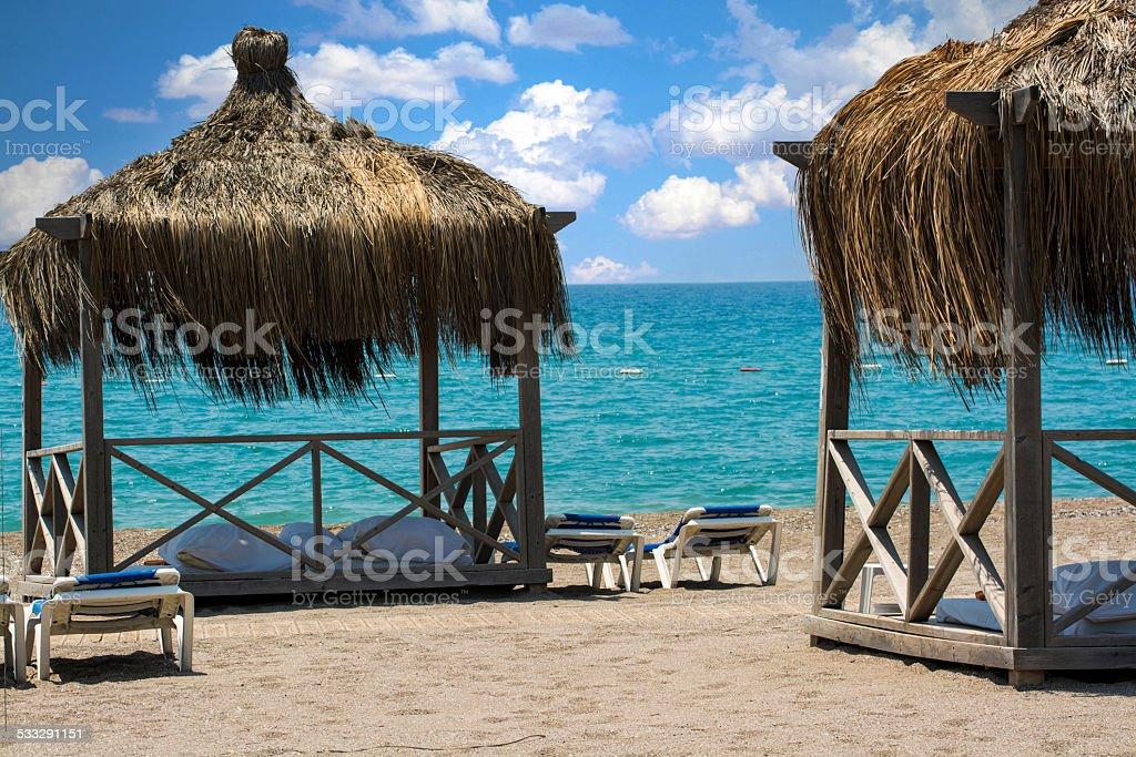 The beach at luxury hotel, Antalya, Turkey stock photo