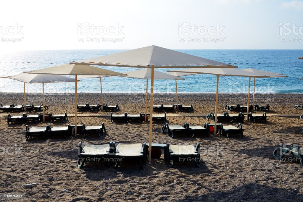 The beach at luxury hotel, Antalya, Turkey stock photo