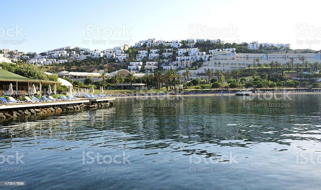 The Beach At Luxury Hotel Bodrum Turkey Royalty Free Stock Photo