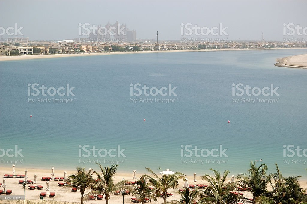 The beach at luxury hotel on Palm Jumeirah island royalty-free stock photo