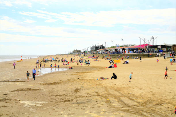The beach at Mablethorpe in Yorkshire. stock photo