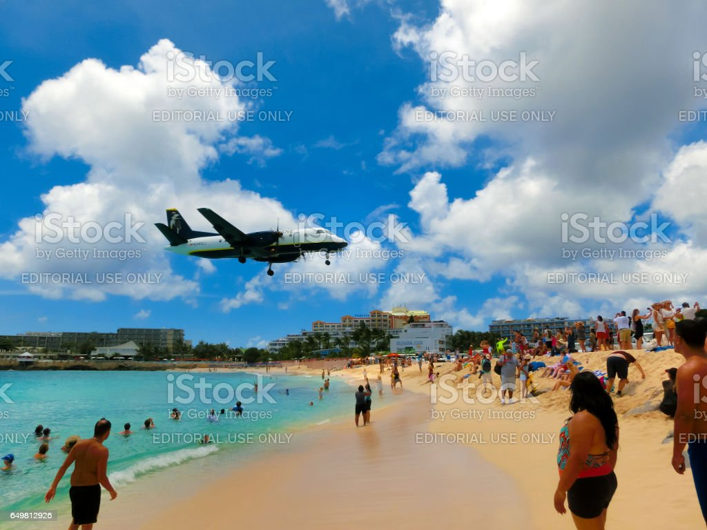 Philipsburg, Sint Maarten - 14 mai 2016 : La plage de Maho Bay - Photo