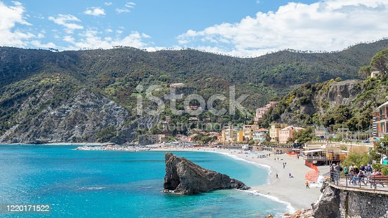 The beautiful coastal Cinque Terra town of Monterosso, with sparkling blue sea