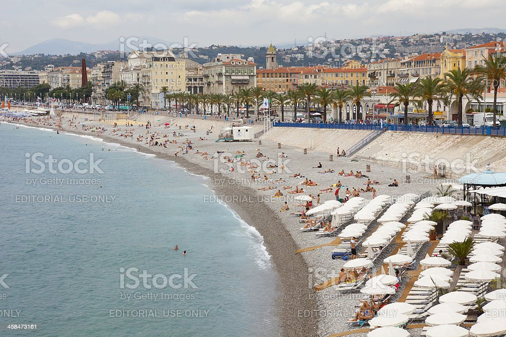 The Beach at Nice, Cote d'Azur royalty-free stock photo