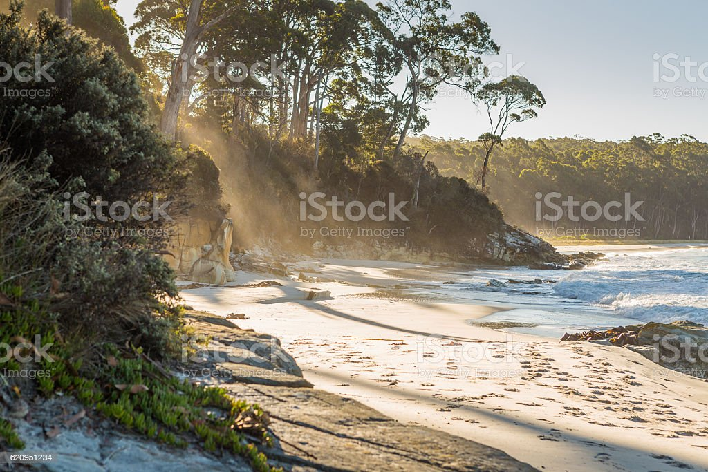 The beach at Resolution Creek in Adventure Bay, Bruny Island stock photo