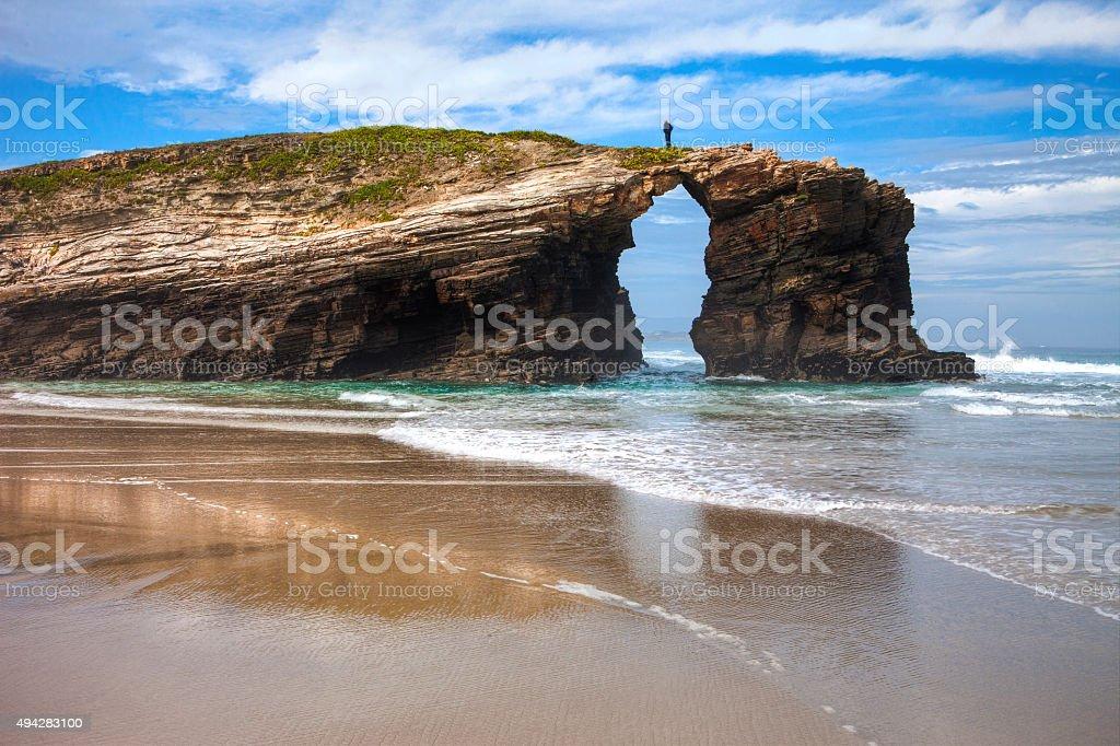 Playa de Las Catedrales stock photo