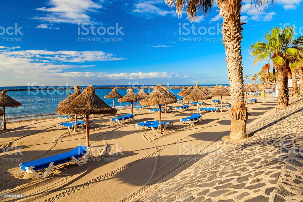 los cristianos beach stock photo