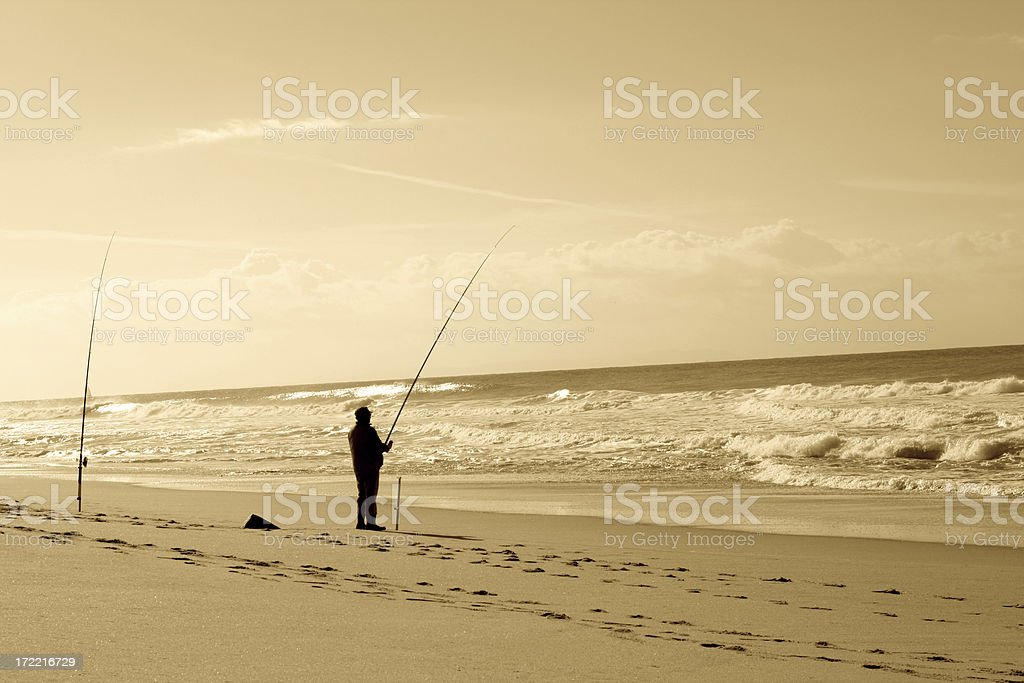 The beach fisher. royalty-free stock photo