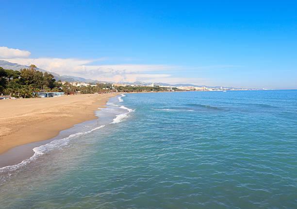 The beach in Marbella, Spain stock photo