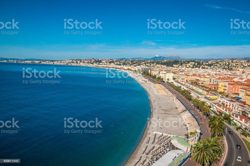 The beach in Nice France stock photo
