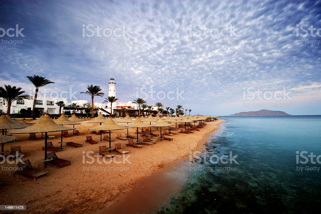 The beach in Sharm el Sheikh, Egypt stock photo