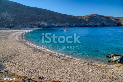 The beach of Achla on the island of Andros, Cyclades, Greece