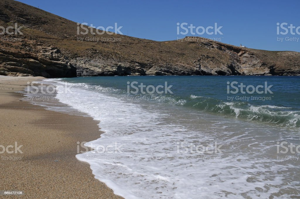 The beach of Achla on the island of Andros Cyclades Greece