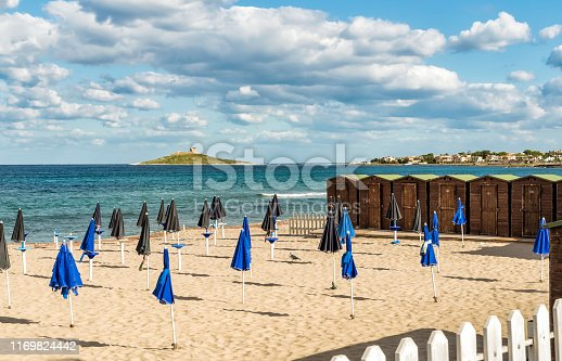 The beach of Isola delle Femmine or the Island of Women located on the shore of Mediterranean sea in province of Palermo, Sicily